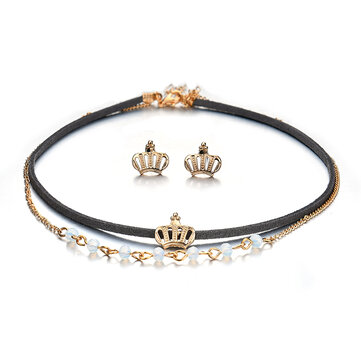 Punk Gold Crown Charm Double Layer Black Choker Fashion Crown Piercing Boucles d'oreilles pour femmes