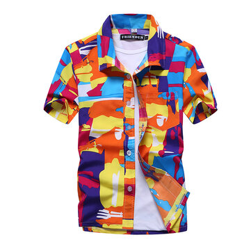 Mens Hawaiian Style Quick Drying Beach Summer Casual Shirts