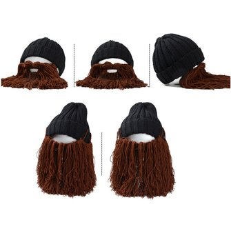 Unisex Men Women Beard Barbarian Looter Knit Crochet Beanie Cap Vagabond Mustache Demountable Hat