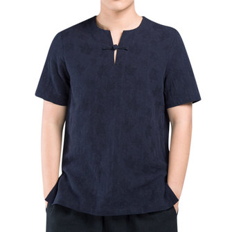 Chinese Style Loose Buckle V-neck Men's T-shirts
