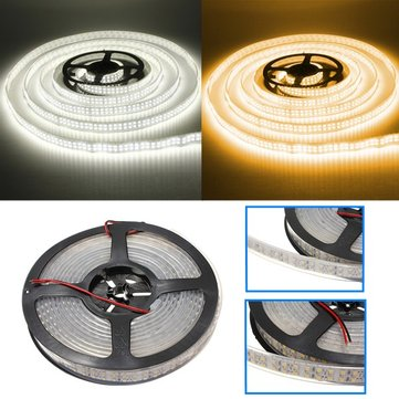 5M 120W DC12V Double Row 3528 SMD 1200 LED White/Warm White Waterproof Flexible Strip light