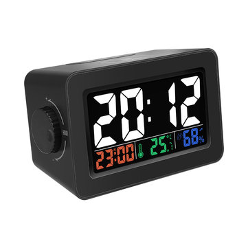 Digoo DG-C1R Brother Double Knob Simplified Alarm Clock Touch Adjust Backlight with Temperature Humidity Display