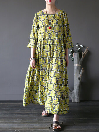 O-NEWE Vintage Flower Printed Half Sleeves O-neck Dresses