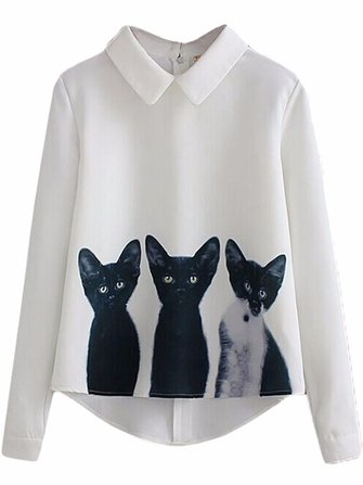 Gracila Casual Animal Cartoon Cat Printed Lapel Zipper Asymmetrical Women Blouse