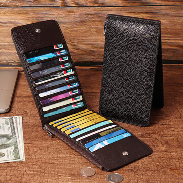 RFID Antimagnetic Men Genuine Leather Business Casual 20 Card Slots 5.5 Inch Phone Bag Long Wallet
