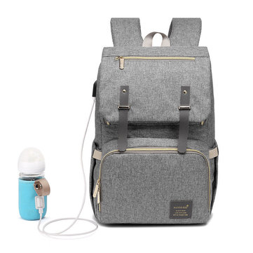 Outdoor Travel Women Mummy Backpack Waterproof USB Heating Baby Nappy Diaper Bag