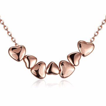 Sweet Heart Rose Gold Plated Clavicle Necklace For Women