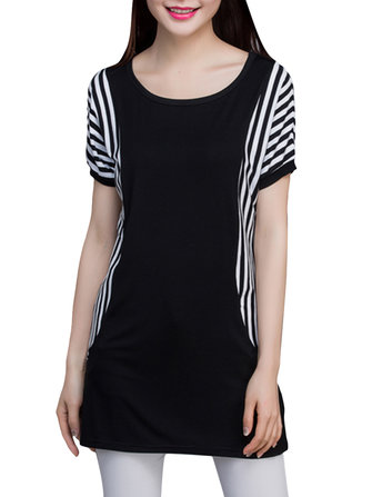 Casual Women Batwing Sleeve Stripe Patchwork Summer T-shirt