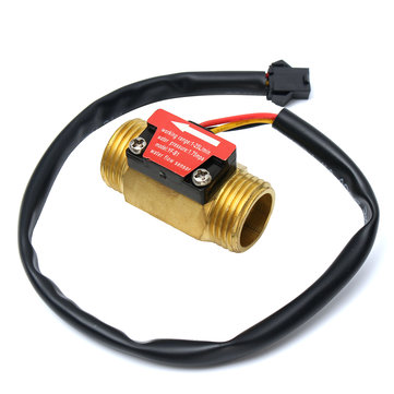 Full Copper Water Flow Sensor 1.75Mpa G1/2 Pulse Hall Flow Meter Switch 1-25L/Min