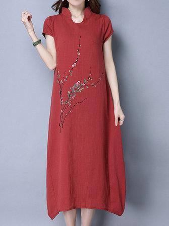 Rouge vigne imprimé fleurs à manches courtes femmes stand col veste à glissière