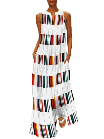 Sleeveless Plaid Patchwork Crew Neck Floral Maxi Dress