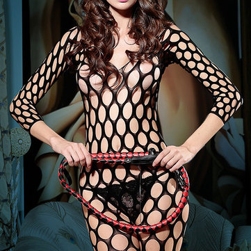 Hollow Out Big Hole Double V Bodystocking Sexy Bonneterie