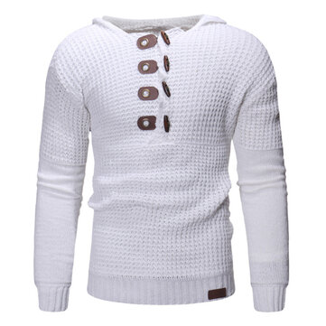 Men's Casual Knitting Solid Color Buttons Decoration Overhead Long Sleeve Hooded Sweaters