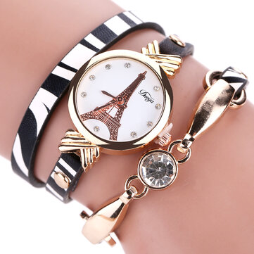 DUOYA DY008 Gold Case Ladies Bracelet Watch Black White Leather Strap Quartz Watch
