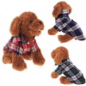 100%ฝ้ายPetสุนัขเสื้อลายสก๊อตเสื้อยืดคอกลมเสื้อลูกสุนัขสำหรับเด็กเล็กสุนัข เสื้อผ้าสไต
