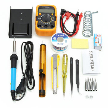 110V/220V 60W Adjustable Temperature Welding Solder Soldering Iron Multimeter Tool Kits