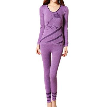 Women Purple Round Collar Warm Rose Pattern Thermal Underwear Suit