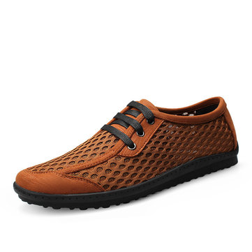 Men Casual Breathable Mesh Lace Up Loafers Soft Flats