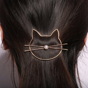 1Pcs Cute Hollow Kitty Cat Hair Clip Women Hair Accessories
