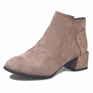 Suede Plush Square Heel Ankle Boots For Women