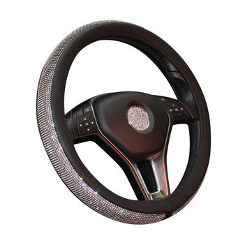 Universal 38cm Leather Car Steering Wheel Covers with Crystal Rhinestone for Women Girls