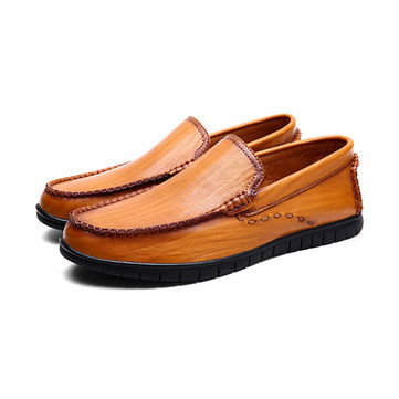 Hombre Casual Respirable Piel Genuina Slip On Oxfords Moc Toe Shoes