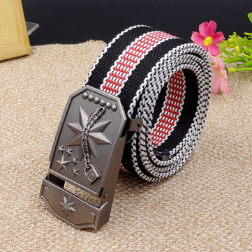 Men Women Canvas Alloy Buckle Belt Casual Durable Tactical Buckle Jeans Waistband