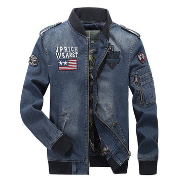 Mens Plus Size S-3XL Embroidery Armband Epaulet Decoration Pilot Flight Jacket Denim Coat