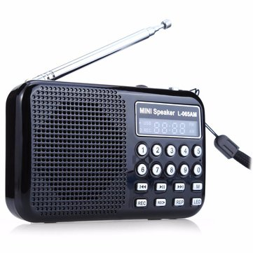 FM/AM Radio Receiver Speaker MP3 Music Player Rechargeable Mini USB + Flashlight
