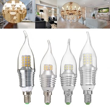 ZX E14 5W 9W SMD 2835 LED Pure White Warm White Torpedo Shape Candle Bulb AC85- 265V