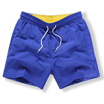Beach Sport Casual Loose Quickl Dry Water Repellent Solid Color Board Shorts for Men