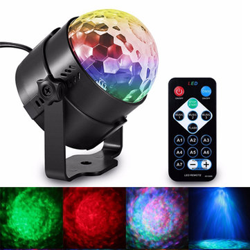 6W LED Remote Control Crystal Magic Ball Stage Light Water Wave RGB Effect for Christmas KTV Party