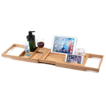 Honana BX 816 Expandable Bamboo Bath Caddy Wine Glass Holder Tray Over Bathtub  Rack Support