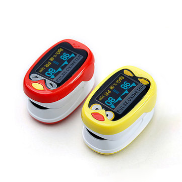 LED Child Kids Infant Finger Pulse Oximeter Medical Pediatric Portable SpO2 Blood Oxygen Monitor for 1-12 Years Old with Rechargeable Battery