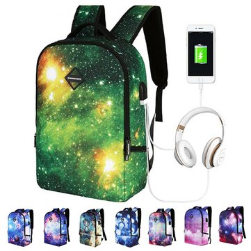 22L Outdoor Headset Starry Sky USB Backpack Student Schoolbag Travel Star Bag Rucksack