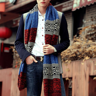 Men Winter Warm Woolen Scarves Vintage Knitted Scarf Wrap Shawl
