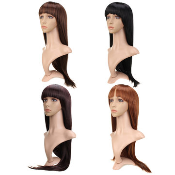 Womens Neat Bang Long Straight Hair Wigs Full Wigs