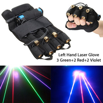 3 Green+2 Red+2 Violet Laser Glove Stage Lighting DJ Dancer Show For Left Hand