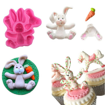 3D RABBIT Easter Bunny Silicone Mould Fondant Cake Baking Molds M116 Cupcake Tools Kitchen Accessories