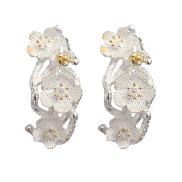 S925 Silver Sweet Cherry Flower Earrings Women Gift