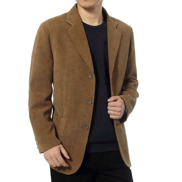 Men's Business Cotton Single Breasted Fit Buttons Solid Color Casual Trench Coat