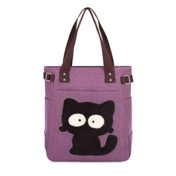 Donne borse di tela fumetto gatto casuali borse ricami stampe animali spalla totes