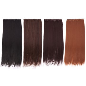 Women Full Head Clip Hair Extensions Long Straight Wig With 5 Clips Dark Brown
