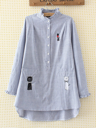 Plus Size Casual Cat Embroidery Ruffle Long Sleeve Loose Shirt