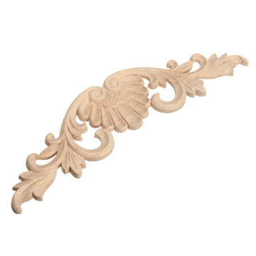 Wood Carving Applique Unpainted Flower Applique Wood Carving Decal for Furniture Cabinet 29x8cm