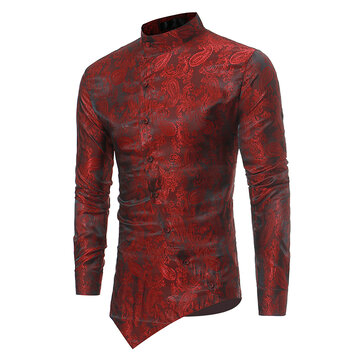 Mens Ethnic Style Printing Irregular Stand Collar Shirts