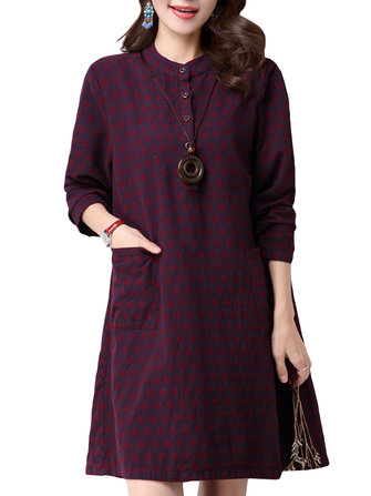 Casual Women Dot Printing Long Sleeve Loose Cotton Dress