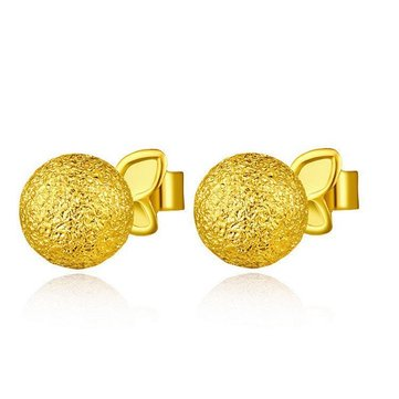 14K Gold Plated Globular Ball Stud Earrings Women Jewelry