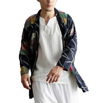 Mens Casual National Linen Kimono Cardigans
