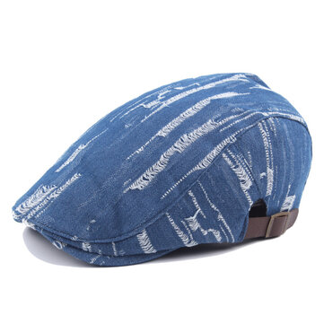 Unisex Men Women Denim Jeans Washed Beret Hat Casual Duckbill Golf Buckle Adjustable Cabbie Cap
